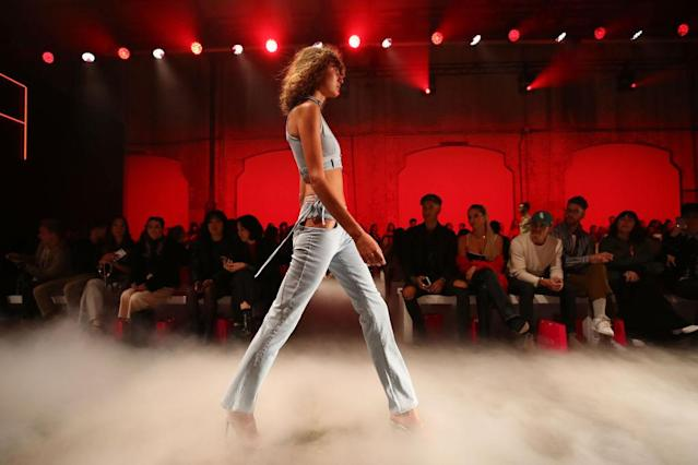 <p>A model walks the runway during the I.AM.GIA show at Mercedes-Benz Fashion Week Australia Resort 19 Collections at Carriageworks on May 16, 2018, in Sydney, Australia. (Photo: Getty Images) </p>