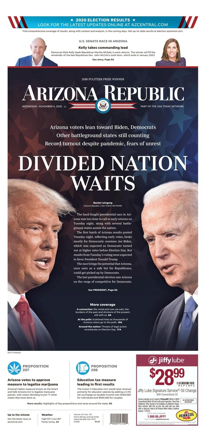 "THE ARIZONA REPUBLIC, Published in Phoenix, Ariz. USA (Courtesy <a href=""https://www.newseum.org/todaysfrontpages/"" rel=""nofollow noopener"" target=""_blank"" data-ylk=""slk:Newseum"" class=""link rapid-noclick-resp"">Newseum</a>)"