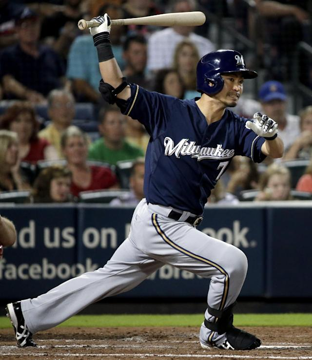 Milwaukee Brewers' Norichika Aoki, of Japan, hits a double in the fifth inning of a baseball game against the Atlanta Braves, Monday, Sept. 23, 2013, in Atlanta. (AP Photo/David Goldman)