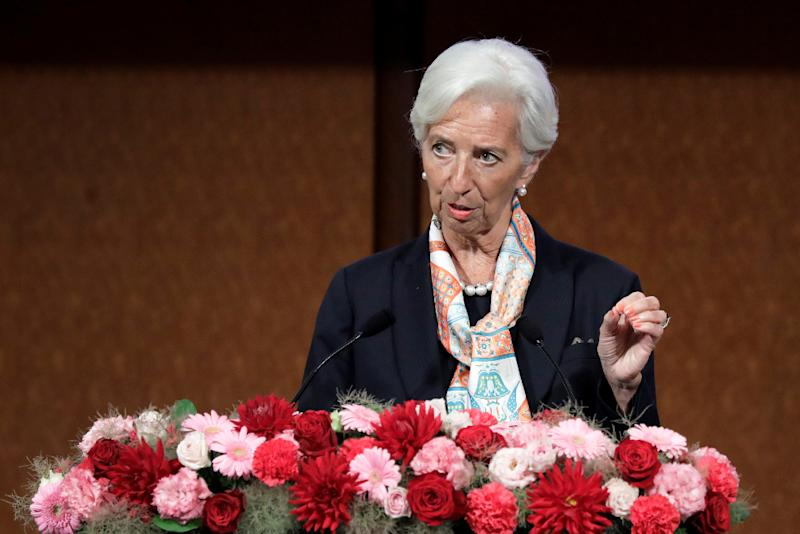 IMF managing director Christine Lagarde speaks at the G-20 high-level seminar on financial innovation 'Our Future in the Digital Age' in Fukuoka June 8, 2019. — Picture by Kiyoshi Ota/Pool via Reuters