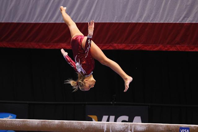 ST. LOUIS, MO - JUNE 10: Nastia Liukin competes on the beam during the Senior Women's competition on day four of the Visa Championships at Chaifetz Arena on June 10, 2012 in St. Louis, Missouri. (Photo by Dilip Vishwanat/Getty Images)