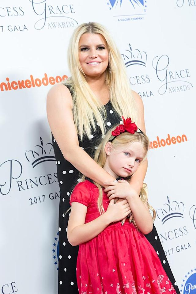 <p>The singer-fashionista and her daughter, Maxi, walked the red carpet at the Princess Grace Awards Gala kick-off party in L.A. on Tuesday. (Photo: Greg Doherty/Getty Images) </p>