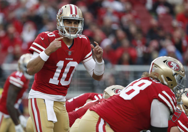 "<a class=""link rapid-noclick-resp"" href=""/nfl/players/27590/"" data-ylk=""slk:Jimmy Garoppolo"">Jimmy Garoppolo</a> has emerged as a matchup-proof fantasy asset. (AP Photo/Tony Avelar)"
