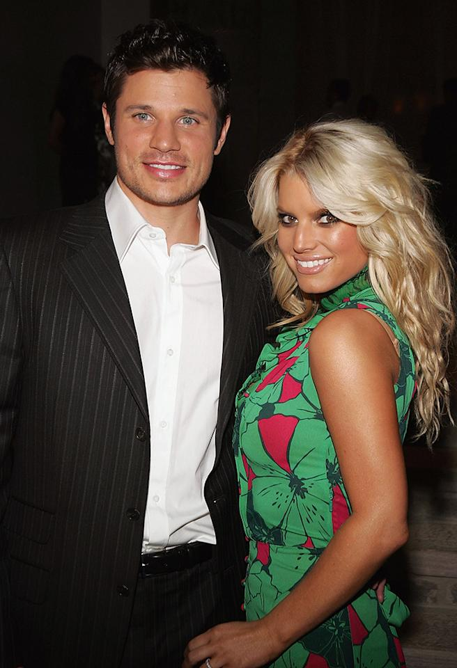 """BEVERLY HILLS, CA - NOVEMBER 17:  Actress Jessica Simpson and husband Nick Lachey attends the """"Gucci Spring 2006 Fashion Show Benefitting The Childrens Action Network"""" at Michael Chow's residence November 17, 2005 in Beverly Hills, California. (Photo by Mark Mainz/Getty Images)  *** Local Caption *** Jessica Simpson;Nick Lachey"""