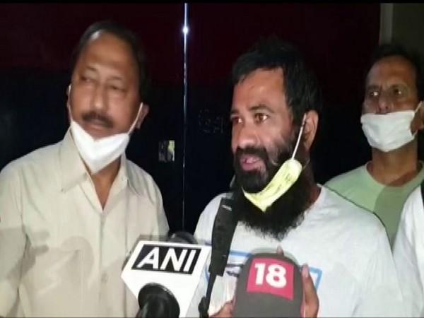 Dr Kafeel Khan talking to reporters following his release from jail on Tuesday night. Photo/ANI