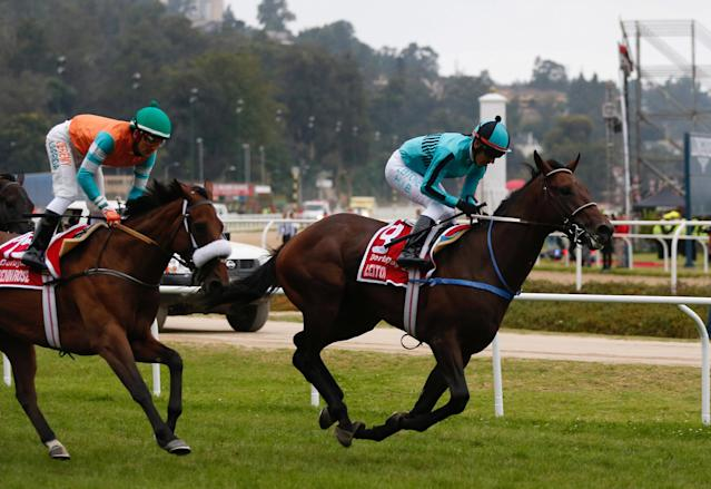 Chilean Horse Racing - Derby of Chile - Sporting Club of Vina del Mar Racecourse - February 4, 2018 Jockey Hector Berrios on Leitone (R) in action after crosses the finish line to win the 133st running of the Derby. REUTERS/Rodrigo Garrido