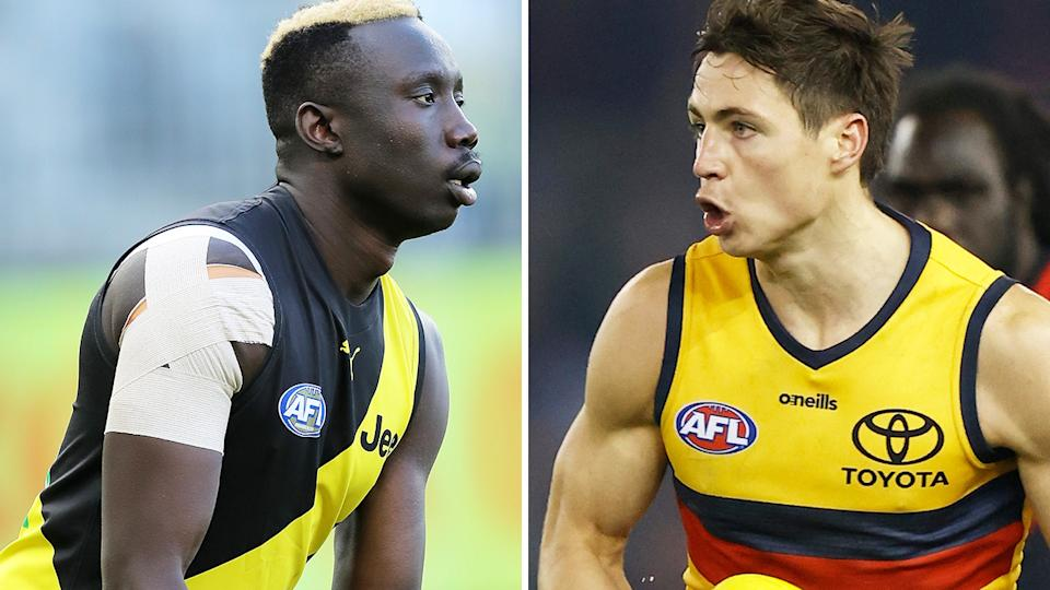 Mabior Chol and Jake Kelly both switched teams in free agency this season, with their former teams earning controversial compensation for their trouble. Pictures: Getty Images