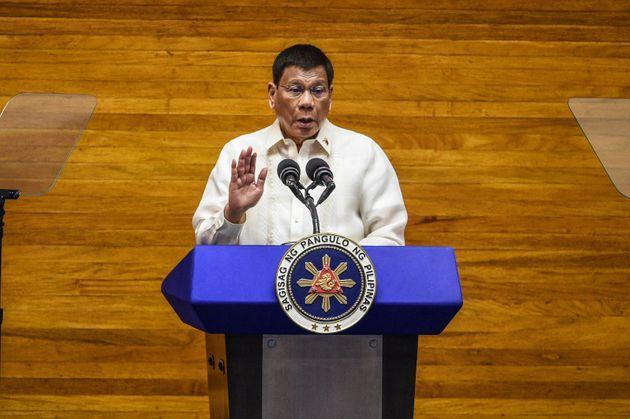 Philippine President Rodrigo Duterte speaks during the annual state of the nation address at the House of Representatives in Manila on July 26, 2021. (Photo by JAM STA ROSA / POOL / AFP) (Photo by JAM STA ROSA/POOL/AFP via Getty Images) (Photo: JAM STA ROSA via Getty Images)