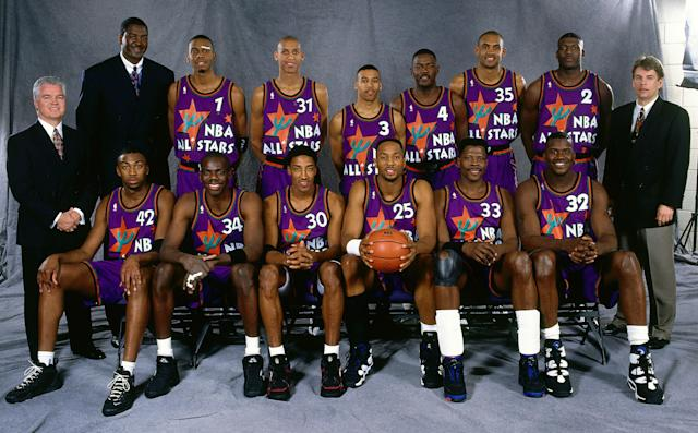 "Dana Barros and <a class=""link rapid-noclick-resp"" href=""/ncaaf/players/270748/"" data-ylk=""slk:Tyrone Hill"">Tyrone Hill</a> made their only All-Star appearances in 1995. (Getty Images)"