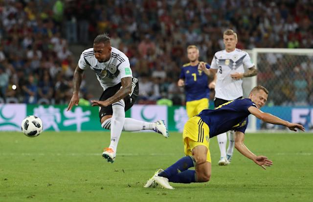 Soccer Football - World Cup - Group F - Germany vs Sweden - Fisht Stadium, Sochi, Russia - June 23, 2018 Germany's Jerome Boateng in action with Sweden's Viktor Claesson REUTERS/Francois Lenoir