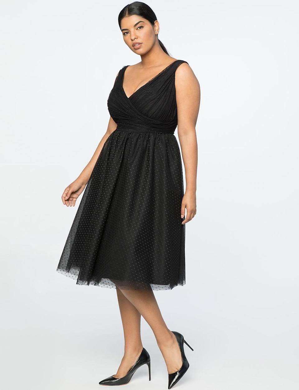 """<p>For someone looking for an LBD with a little more jazz and movement, this polka-dot tulle dress fits the bill. <br>Point d'Espirit dress, $230, <a rel=""""nofollow noopener"""" href=""""https://fave.co/2zgID5I"""" target=""""_blank"""" data-ylk=""""slk:eloquii.com"""" class=""""link rapid-noclick-resp"""">eloquii.com</a> </p>"""