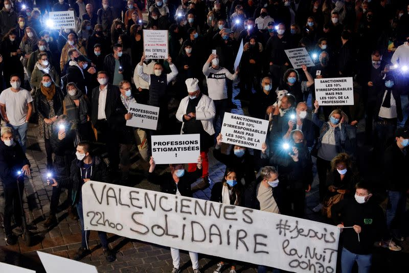 FILE PHOTO: Lille restaurants and bars owners protest against new sanitary measures in France