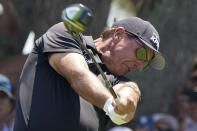 Phil Mickelson hits his tee shot on the seventh hole during the second round of the PGA Championship golf tournament on the Ocean Course Friday, May 21, 2021, in Kiawah Island, S.C. (AP Photo/Chris Carlson)
