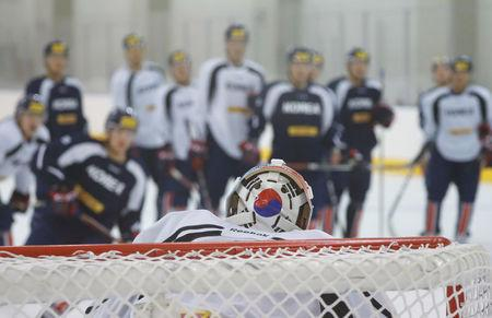 A South Korean national flag is seen on the back of a helmet belonging to a naturalized athlete of South Korean national ice hockey team Matt Dalton during a training session in Jincheon