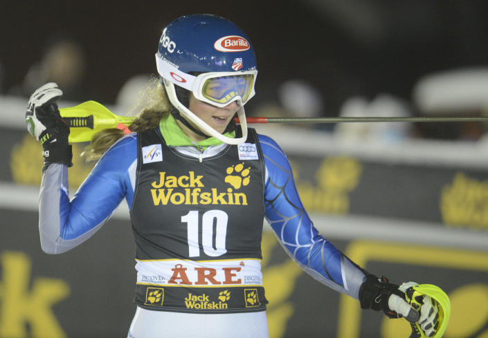 Mikaela Shiffrin, of the United States, reacts at finish line after winning an alpine ski, women's World Cup slalom, in Are, Sweden, Thursday, Dec. 20, 2012. (AP Photo/Giovanni Auletta)
