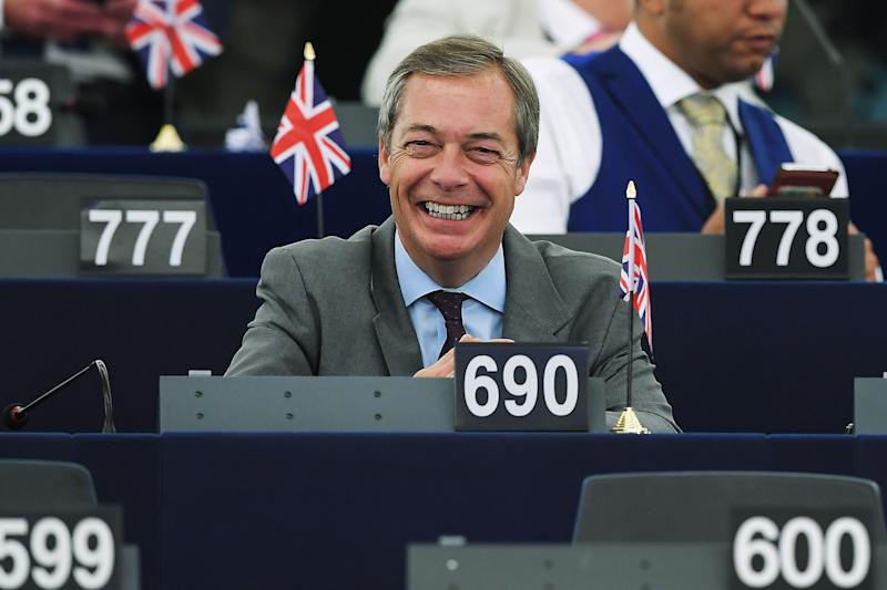 Former UK Independence Party (UKIP) leader, Brexit campaigner and member of the European Parliament Nigel Farage smiles as he attends a debate on the conclusions of the European Council meeting of June 20-21 during a plenary session at the European Parliament on July 04, 2019 in Strasbourg, eastern France. (Photo by FREDERICK FLORIN / AFP) (Photo credit should read FREDERICK FLORIN/AFP/Getty Images)