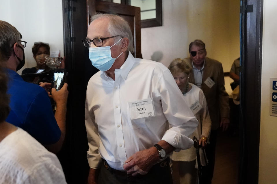 Former Sen. Sam Nunn, D-Ga., arrives for a reception to celebrate the 75th wedding anniversary of former President Jimmy Carter and former first lady Rosalynn Carter 75th wedding anniversary Saturday, July 10, 2021, in Plains, Ga.. (AP Photo/John Bazemore, Pool)