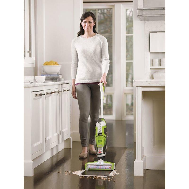 "If you want to get more chores off your checklist sooner, this vacuum might have the solution. This vacuum from Bissell has a cleaning system that lets you vacuum and wash your floors at the same time. And the vacuum's controls can switch swiftly from cleaning hard wood floors to area rugs. <strong><a href=""https://fave.co/352bpFx"" target=""_blank"" rel=""noopener noreferrer"">Originally $270, get it for $200 at Overstock</a></strong>.&nbsp;"