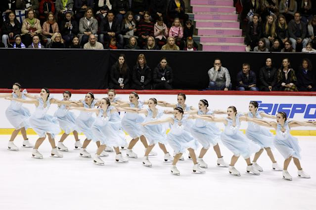 ISU World Synchronized Skating Championships 2019 - Short Program - Helsinki Ice Hall, Helsinki, Finland - April 12, 2019. Russia's Team Tatarstan competes. Lehtikuva/Roni Rekomaa via REUTERS ATTENTION EDITORS - THIS IMAGE WAS PROVIDED BY A THIRD PARTY. NO THIRD PARTY SALES. NOT FOR USE BY REUTERS THIRD PARTY DISTRIBUTORS. FINLAND OUT. NO COMMERCIAL OR EDITORIAL SALES IN FINLAND.