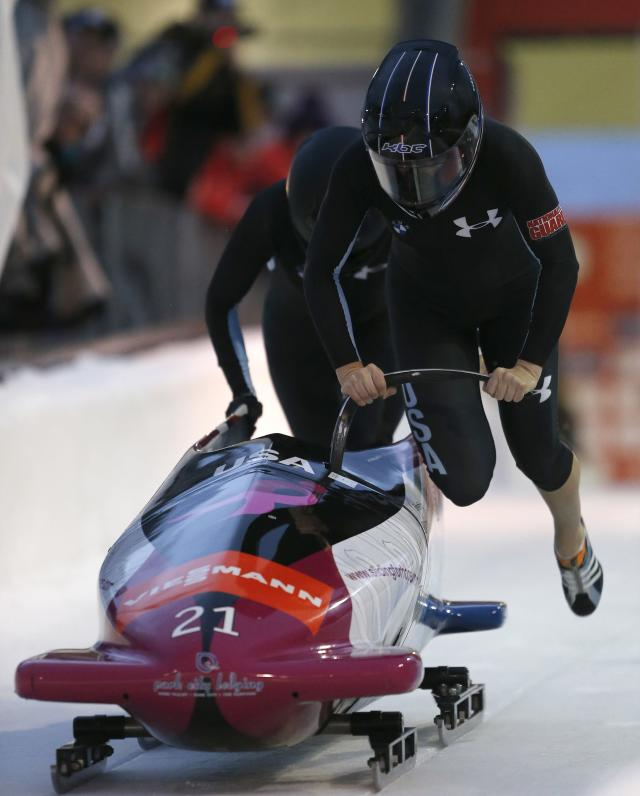 PARK CITY, UT - NOVEMBER 16: Jami Greubel (F) and Katie Eberling of the U.S. finish in fourth place in the FIBT women's bobsled world cup, on November 16, 2012 at Utah Olympic Park in Park City, Utah.(Photo by George Frey/Getty Images)