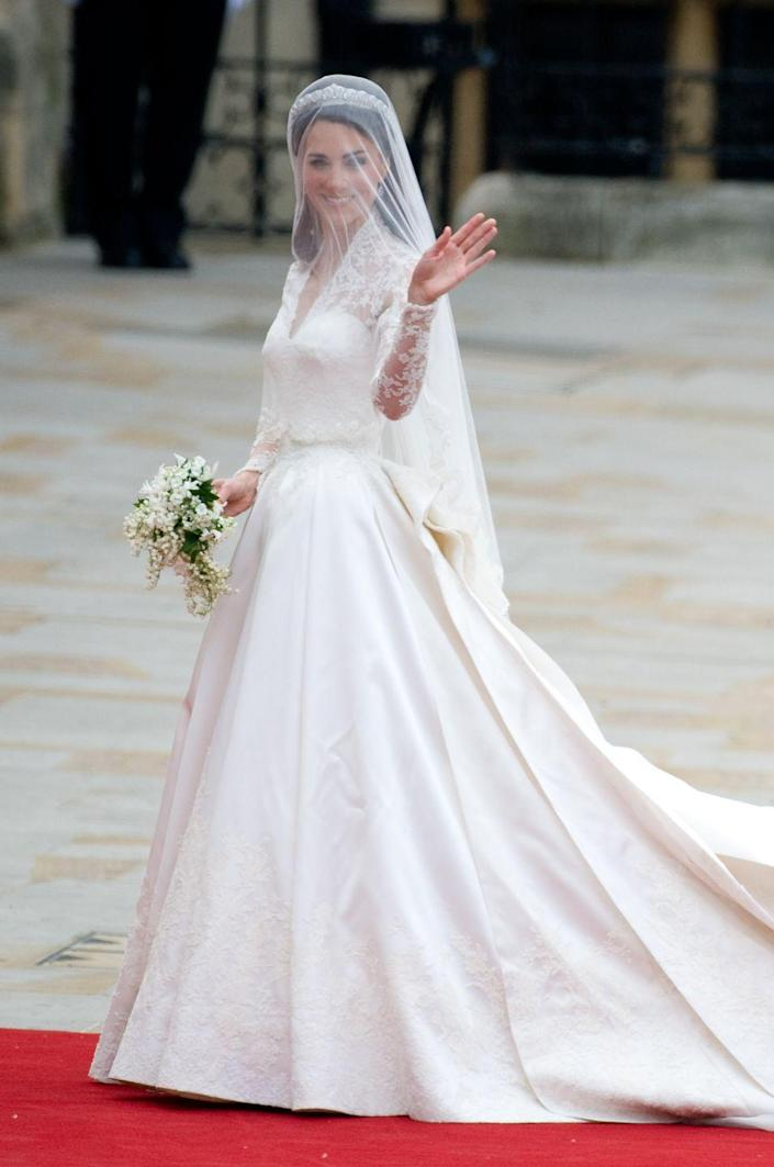 """<p>No royal wedding wardrobe is scandal-free...even Kate Middleton's stunning Alexander McQueen dress by Sarah Burton. After the 2011 nuptials, a wedding dress designer claimed Burton <a href=""""https://fortune.com/2016/04/26/kate-middleton-wedding-alexander-mcqueen/"""" rel=""""nofollow noopener"""" target=""""_blank"""" data-ylk=""""slk:knocked off their design and filed a lawsuit"""" class=""""link rapid-noclick-resp"""">knocked off their design and filed a lawsuit</a>.</p>"""