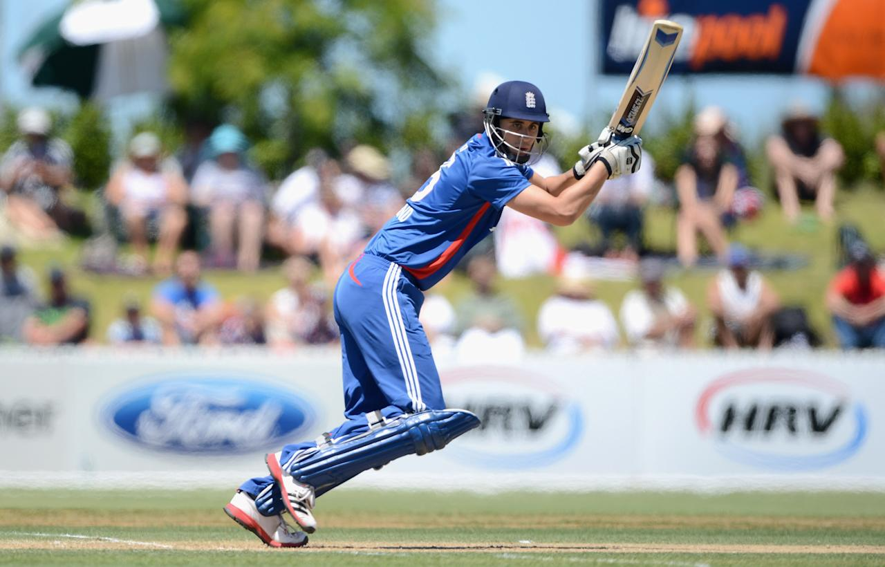 WHANGAREI, NEW ZEALAND - FEBRUARY 06:  Alex Hales of England bats during a T20 Practice Match between New Zealand XI and England at Cobham Oval on February 6, 2013 in Whangarei, New Zealand.  (Photo by Gareth Copley/Getty Images)