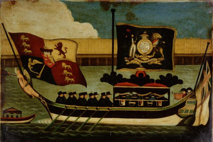 Nelson's funeral barge rowed from Greenwich to Whitehall: a painting on glass (1806) - Corbis via Getty Images