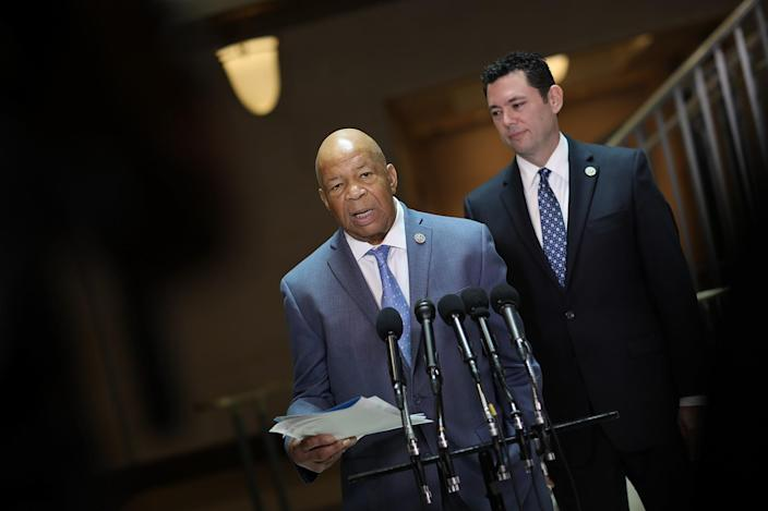 House Oversight Committee ranking member Rep. Elijah Cummings, D-Md., left, and Chairman Jason Chaffetz, R-Utah, speak to reporters about President Trump's former national security advisor, Gen. Michael Flynn, on April 25, 2017, in Washington, D.C. (Photo: Win McNamee/Getty Images)