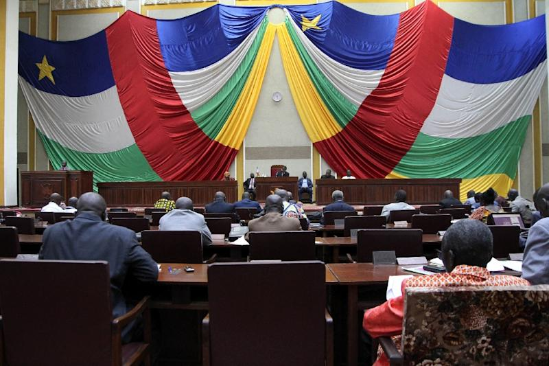 Central African Republic members of parliament meet to debate the new constitution on August 30, 2015 in Bangui