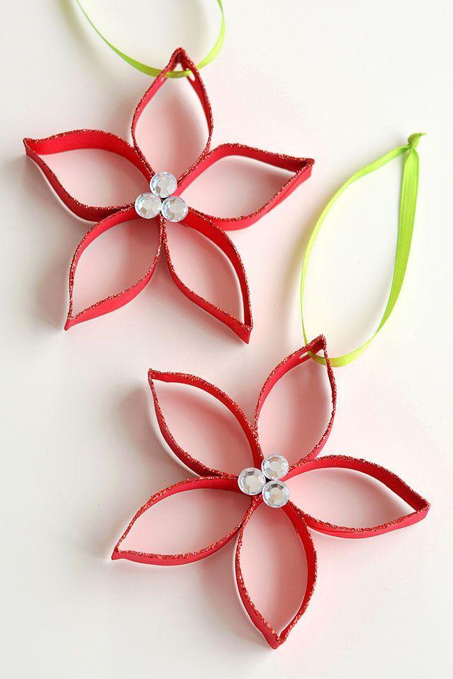 """<p>An unexpected craft supply—an empty paper towel or toilet paper tube—serves as the base for this pretty poinsettia ornament. </p><p><em>Get the tutorial at <a href=""""https://onelittleproject.com/paper-roll-poinsettia-ornaments/"""" rel=""""nofollow noopener"""" target=""""_blank"""" data-ylk=""""slk:One Little Project"""" class=""""link rapid-noclick-resp"""">One Little Project</a>.</em></p><p><a class=""""link rapid-noclick-resp"""" href=""""https://www.amazon.com/Handy-Art%C2%AE-Student-Acrylic-Paint/dp/B007TIDMQK/?tag=syn-yahoo-20&ascsubtag=%5Bartid%7C10072.g.34443405%5Bsrc%7Cyahoo-us"""" rel=""""nofollow noopener"""" target=""""_blank"""" data-ylk=""""slk:SHOP RED PAINT"""">SHOP RED PAINT</a><br></p>"""