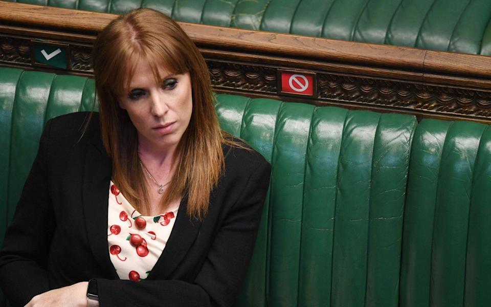 "A handout photograph released by the UK Parliament shows Britain's main opposition Labour Party deputy leader Angela Rayner listening during Prime Minister's Questions (PMQs) in the House of Commons in London on May 13, 2020. - Britain's economy shrank in the first quarter at the fastest pace since the 2008 financial crisis as the country went into lockdown over the coronavirus, official data showed Wednesday, leaving it on the brink of recession with a far worse contraction to come. (Photo by JESSICA TAYLOR / various sources / AFP) / RESTRICTED TO EDITORIAL USE - NO USE FOR ENTERTAINMENT, SATIRICAL, ADVERTISING PURPOSES - MANDATORY CREDIT "" AFP PHOTO / Jessica Taylor /UK Parliament"" (Photo by JESSICA TAYLOR/AFP via Getty Images) - JESSICA TAYLOR/AFP, Getty"