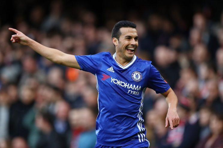 Pedro celebrates making it 2-0 to Chelsea