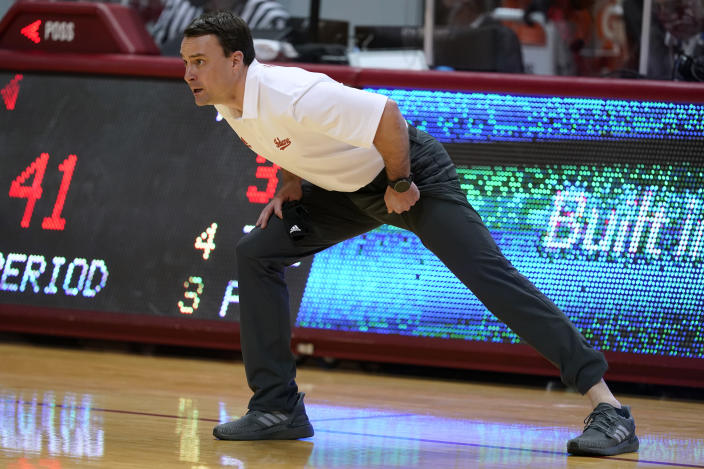 Indiana coach Archie Miller shouts during the first half of the team's NCAA college basketball game against Purdue, Thursday, Jan. 14, 2021, in Bloomington Ind. (AP Photo/Darron Cummings)