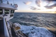 This Nov. 8, 2019, photo provided by John Guillote shows the Chukchi Sea from the top deck of the research vessel the Sikuliaq. University of Washington scientists onboard the research vessel are studying the changes and how less sea ice will affect coastlines, which already are vulnerable to erosion because increased waves delivered by storms. More erosion would increase the chance of winter flooding in villages and danger to hunters in small boats. (John Guillote via AP)