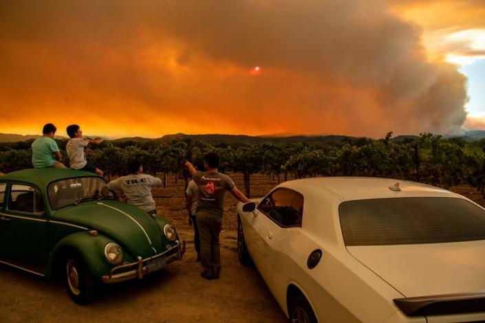 "<div class=""inline-image__title""> 1228132472 </div> <div class=""inline-image__caption""> <p>People watch the Walbridge fire, part of the larger LNU Lightning Complex fire, from a vineyard in Healdsburg, California on August 20, 2020. </p> </div> <div class=""inline-image__credit""> JOSH EDELSON/AFP/Getty Images </div>"