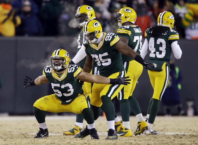 Green Bay Packers outside linebacker Nick Perry (53) celebrates after a quarterback sack during the second half of an NFL wild-card playoff football game against the San Francisco 49ers, Sunday, Jan. 5, 2014, in Green Bay, Wis. (AP Photo/Jeffrey Phelps)
