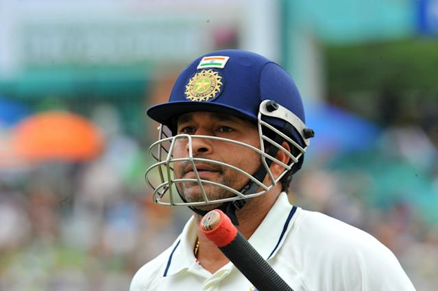 Indian Sachin Tendulkar walks back dejected after been caught out for 13 runs bowled by South African Lonwabo Tsotsobe and caught by Jacques Kallis on the first day of the second Test at Kingsmead Stadium in Durban on December 26, 2010. AFP PHOTO / ALEXANDER JOE (Photo credit should read ALEXANDER JOE/AFP/Getty Images)