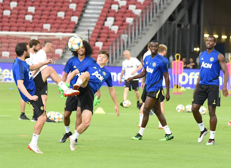 Manchester United players during their training sessions at the National Stadium for the International Champions Cup. (PHOTO: Zainal Yahya/Yahoo News Singapore)
