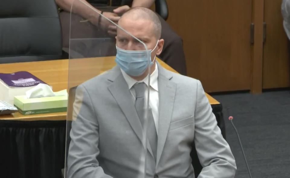 In this screen grab from video, former Minneapolis police officer Derek Chauvin is seen during victim impact statements as Hennepin County Judge Peter Cahill presides over sentencing, Friday, June 25, 2021 in Minneapolis. Chauvin faces decades in prison in the death of George Floyd.(Court TV, via AP, Pool)