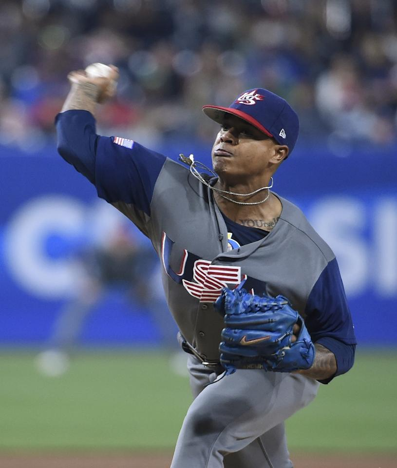 Marcus Stroman of the US pitches during the first inning of their World Baseball Classic Pool F Game Four against Puerto Rico, at PETCO Park in San Diego, California, on March 17, 2017 (AFP Photo/Denis Poroy)