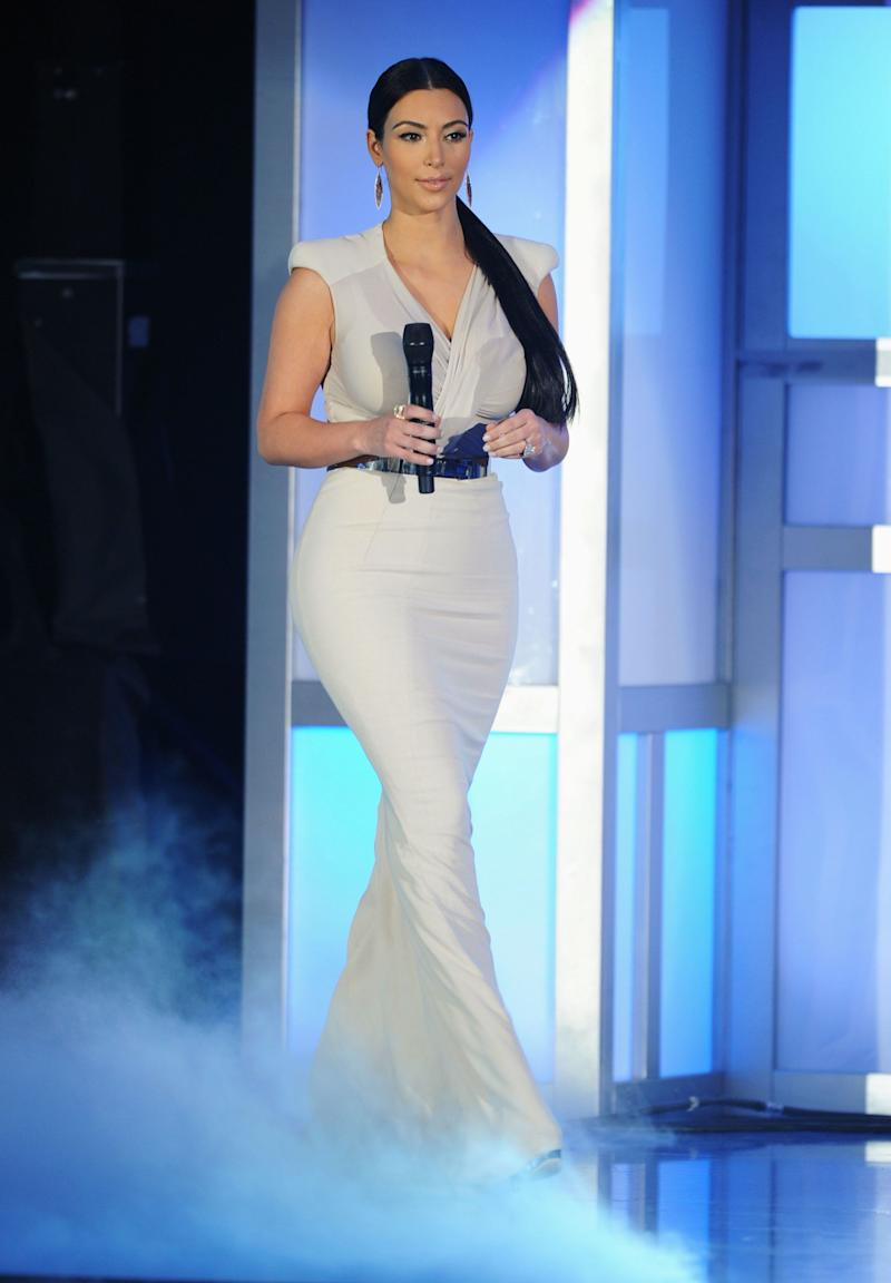 HOLLYWOOD, CA - AUGUST 14: TV personality Kim Kardashian speaks onstage during the 2011 VH1 Do Something Awards at the Hollywood Palladium on August 14, 2011 in Hollywood, California. (Photo by Kevin Winter/Getty Images)