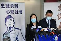 Hong Kong police spoke to the press after the trial