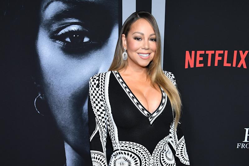 "NEW YORK, NEW YORK - JANUARY 13: Mariah Carey attends the premiere of Tyler Perry's ""A Fall From Grace"" at Metrograph on January 13, 2020 in New York City. (Photo by Dimitrios Kambouris/WireImage)"