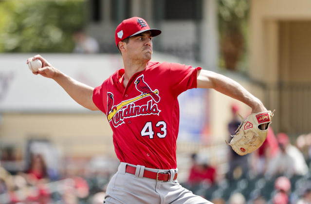 St. Louis Cardinals starter Dakota Hudson (43) delivers a pitch in the first inning during an exhibition spring training baseball game against the Miami Marlins on Wednesday, March 13, 2019, in Jupiter, Fla. (AP Photo/Brynn Anderson)
