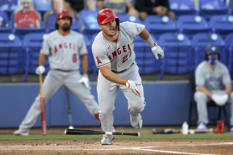 Los Angeles Angels' Mike Trout doubles during the first inning of a baseball game against the Toronto Blue Jays Thursday, April 8, 2021, in Dunedin, Fla. (AP Photo/Mike Carlson)