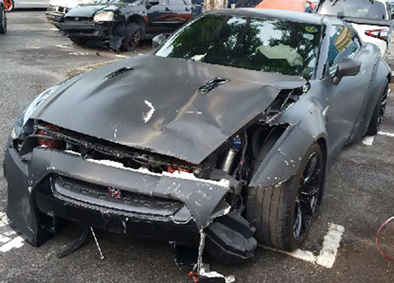 (Photo Of The Nissan GTR After The Crash: Singapore Police Force)