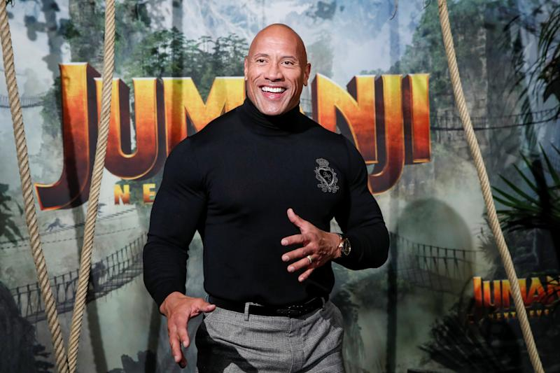 Dwayne Johnson attends the premiere of the movie 'Jumanji: The Next Level' at the Grand Rex in Paris on 3 December 2019. (REUTERS/Benoit Tessier)