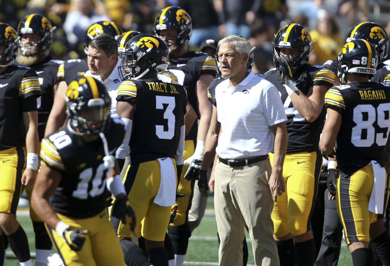 Will Kirk Ferentz and the Iowa Hawkeyes be in the College Football Playoff mix at the end of this season?  (Matthew Holst/Getty Images)