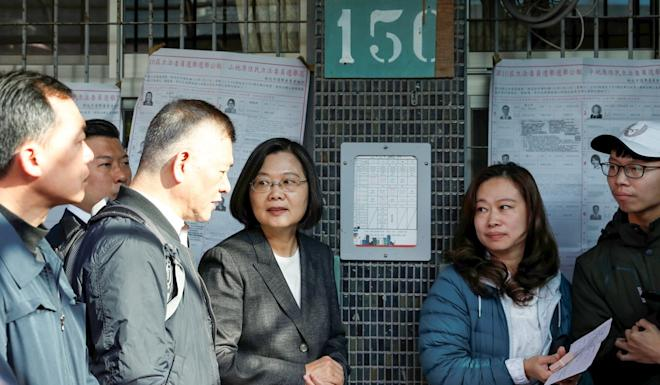 Taiwan President Tsai Ing-wen at a polling station in New Taipei City. Photo: Reuters