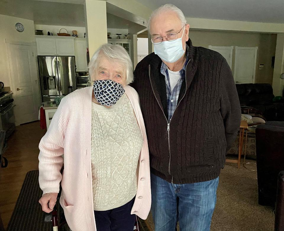 """""""I'm a cougar,"""" Lillian Wattum, 95, says with a chuckle, because her husband, Howard Stiles, 90, is younger. The couple in Marysville, Wash., were married 10 years ago."""